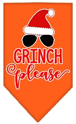 Grinch Please Screen Print Bandana Orange Small